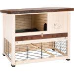 Клетка RANCH 100 REST для содержания кроликов на улице, деревянная (бело-коричневая) 95 x 64.5 x h 84.5 см 57090010