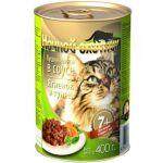Консервы для кошек старше 7 лет, ягненок и тунец в соусе