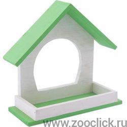 "Кормушка уличная для птиц из дерева ""Конфетти"", зеленая, 21,5*8*19,5см"