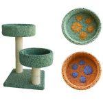 Когтеточка для кошек ковролиновая «Двойная лапа» 42*42*65 см, сизаль