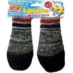 Утепленные носки для собак, прорезиненные, на липучках, серые, разм.1