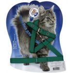 Шлейка-стропа с поводком 1,5м для кошек зеленая