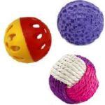 Набор игрушек для кошек 3 мячика (сизаль, латекс, винил)