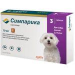 Симпарика, таблетки от блох и клещей для собак 2,5-5,0 кг, 3 шт. 10 мг