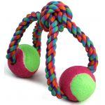 Игрушка для собак. Верёвка-восьмёрка, узел и 2 мяча, 35 см (0111XJ)