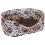 Лежанка лен и мебельная ткань овальная для собак и кошек коричневая