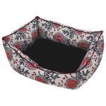 Лежанка пухлик косая лен и мебельная ткань черная