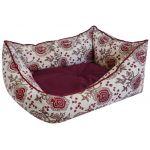 Лежанка пухлик косая лен и мебельная ткань бордовая