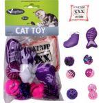 Набор из 10 игрушек для кошек с рыбкой, мячиками и кошачьей мятой