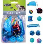Набор из 10 игрушек для кошек с мышкой, конфетой и мячиками