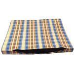 Лежак-перина со съемным чехлом, бязь, сине-бежевая клетка