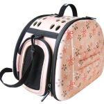 Складная сумка-переноска для собак и кошек до 6 кг бледно-розовая в цветочек 46*32*30 см