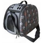 Складная сумка-переноска для собак и кошек до 6 кг серая в цветочек 46*32*30 см
