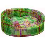 """Лежак """"Белка"""" овальный, бязь/поролон, съемная подушка, цветная клетка"""