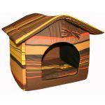 """Мягкий домик """"Будка"""" с подушкой и съемной крышей, шоколадный, поплин"""
