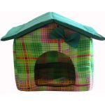 """Мягкий домик """"Будка"""", цветная клетка с зеленой крышей, бязь/оксфорд"""