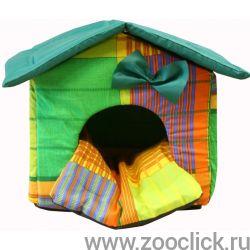 """Мягкий домик """"Будка"""" с подушкой и съемной крышей, желто-зеленый, бязь/оксфорд"""