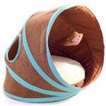 Лежанка-туннель для кошек, коричневая, 43*38*35 см (CT49)