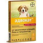 Адвокат капли для щенков и собак 10-25 кг от блох, клещей и глистов, 3 пипетки