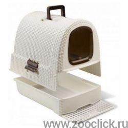 Туалет-домик для кошек, кремово-коричневый, 51*39*40 см