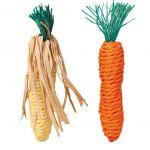 """Игрушка для грызунов  """"Морковь и кукуруза"""", 15см., сизаль, 2 шт (6192)"""