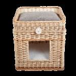 Плетеный домик квадратный с лежанкой для животных 42*42*48 см